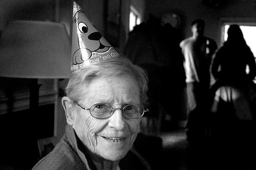 Nana in party hat