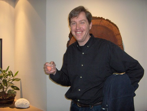 Jeff Hawkins showing off his brain keychain