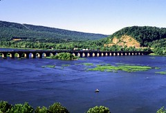 Rockville Bridge (DON SCHIFFER PHOTOGRAPHY) Tags: river fuji pennsylvania slidefilm velvia fujifilm marysville harrisburg susquehanna susquehannariver fujivelvia centralpennsylvania nikonfilmcameras susquehannavalley nikoncameras harrisburgpennsylvania donschifferphotography merysvillepennsylvania pennsylvaniarivers usarivers