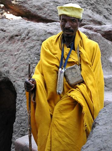 Lalibela, Ethiopia - Man in saffron robe