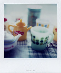 Toy attached to tea beverage (tearoom) Tags: macro cup topf25 toy polaroid sx70 topf50 500v20f tea topv1111 pot lipton