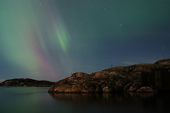 Northern Lights (Tracey Salazar) Tags: longexposure topf25 water night landscape seaside sweden space air vision top20night northernlights auroraborealis archipelago bohusln skrhamn