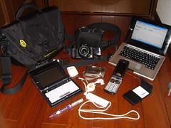 What's in my bag (digitalbear) Tags: tokyo japan whatsinyourbag gadget ipodshuffle ipod apple sharp panasonic mobilephone whatsinmybag timbuk2