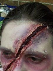 Ghashly Zombie (Coco Mault) Tags: makeup cut gash blood face injury zombie ouch dead undead