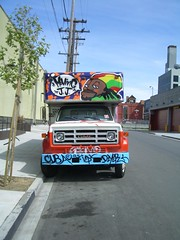 JJ's Moving Van (Front) (JudeMatthew) Tags: sanfrancisco streetart graffiti fleamarket alemany cuba jj icp dzyer