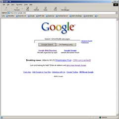 google.com on the morning of Sept 11th, 2001 (mathowie) Tags: 911 google screenshot blogger newsblogger
