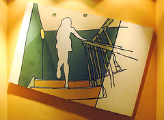 Girl ascending staircase (George Pollard) Tags: art me girl illustration painting bill northampton staircase kaiser reg picturedrome heathermills