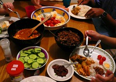 Having breakfast for dinner on Tuesday (lotusutol) Tags: nasi lemak malaysian food bilis fried curry squid sambal belachan paste bowl plate spoon meal dinner cucumber salt onion egg hardboiled tomato cup fork chicken potato sauce delicious malay breakfast deepfried coconut milk santan spices chilli chili spicy nopeanuts topv111 hawkerfood
