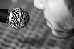 into the microphone