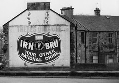 Irn Bru (Szmytke) Tags: blackandwhite 15fav sign topv111 scotland interestingness display advertisement advert publicity irnbru falkirk 327 foodndrink interestingness327 i500 ga00252