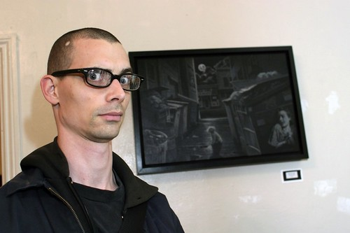 Fred Einaudi and one of his paintings
