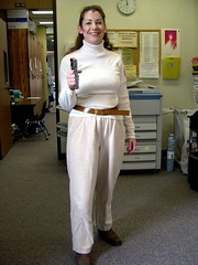 "Me as Maya from ""Space: 1999"" with staplegun, I mean, laser"