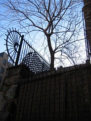 Hudson View Gardens - protected (Susan NYC) Tags: street nyc trees sky nature leaves architecture clouds fence cityscape cityscapes skylines fences washingtonheights nycbuildings bldgs hudsonviewgardens hvg