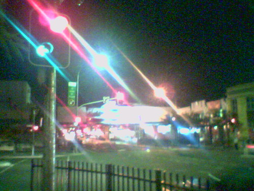 cameraphone city streaked lights night