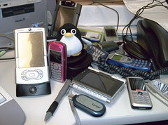 jumble of cell phones
