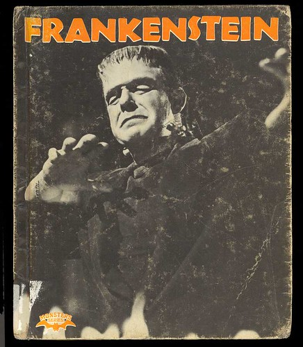 Book cover of Frankenstein by Mary Wollstonecraft Shelley.