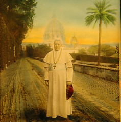 Pius X - hand coloured glass slide