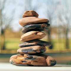 Tiny indoor balance with photo as background (Pickersgill Reef) Tags: macro rock stones pebble balance indoorstones