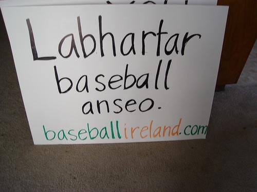 Labhartar baseball anseo sign