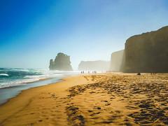 On the Beach (Edward Hoover) Tags: ocean sea people cliff mist beach rock waves australia victoria vic twelveapostles auspctagged