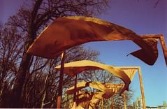 gates7 (thearnoswimmer) Tags: 2005 nyc trees newyork film crossprocessed centralpark saffron christo thegates gatesmemory