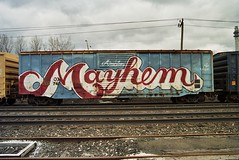 american mayhem (LIVE AND LET GET) Tags: railroad art train graffiti freedom tracks rr american americana mayhem freight t2b nace redwhiteblue nekst wholecar endtoend e2e wholetrain toptobottom