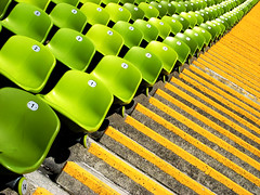 to infinity (SophieMuc) Tags: orange green munich chairs seats olympiastadion