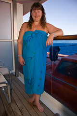 Debbie on our balcony (SunCat) Tags: travel cruise vacation woman friend girlfriend all bare bbw wrap spouse ladolcevita wife debbie sweetheart lover mate companion vacations sarong soulmate pareo necessities braless costamediterranea barenecessities nudecruise confidante so