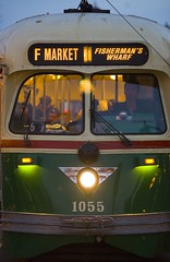 To Fisherman's Wharf (Thomas Hawk) Tags: sanfrancisco california city morning people usa fish bus green animal train unitedstates market 10 trolley unitedstatesofamerica earlymorning fav20 muni f transportation wharf fishermans fishermanswharf streetcar ftrain fline fmarket 1055 fav10