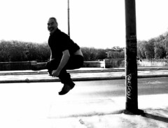 Jumping Paul (Eugenia Moira Angela Darling) Tags: people blackandwhite rome roma smile paul funny flickr meeting flickrmeeting iniziativeromamor