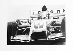 Williams F1 BMW FW26 - pencil drawing (Greg Bajor) Tags: art 2004 car sport illustration pencil paper 1 sketch williams drawing grand f1 racing size prix ralf bmw formula a3 fedex schumacher motorsport fw26 abigfave birdlikeimages gregbajor