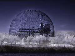 Bucky's dream (IrenaS) Tags: canada architecture photoshop bravo quebec montreal surreal biosphere infrared buckminsterfuller geodesicdome expo67 irenas abigfave frhwofavs
