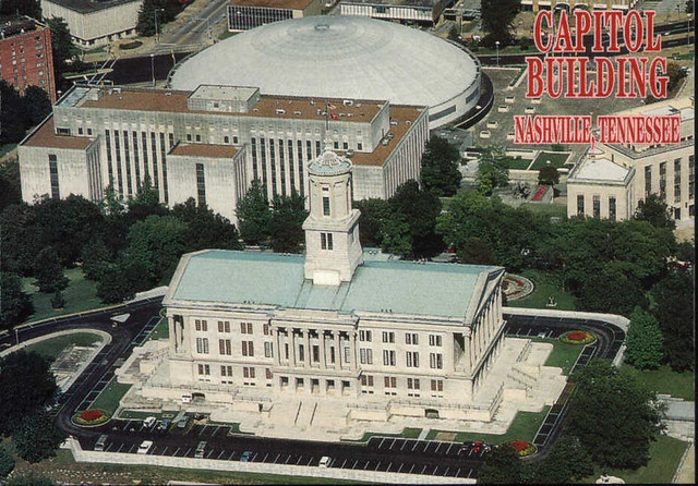 2004 post card: aerial view of the State Capiton and Municipal Auditorium