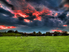 avebury - escape into the mystics. (NaturesChild) Tags: england sky volcano lava wideangle redsky wiltshire avebury henge fierysky moltenrock