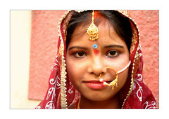 In love (Elishams) Tags: wedding red portrait woman india wow indian traditional faith culture varanasi mariage indianarchive reddress inde banaras benares travelstory theface uttarpradesh  hindou redclothes indiatree 50millionmissing