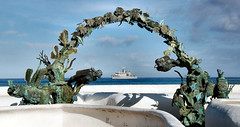 Ship in Cozumel (lawatha) Tags: water statue mexico boat interestingness divers ship dive diver cozumel