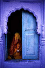 Jodhpur, Rajasthan, India (dwrawlinson) Tags: leica blue orange woman india window culture rajasthan jodhpur top20india fivestarsgallery rajasthanthecolourstate