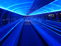 Manchester Airport Travelator (Gilli8888) Tags: blue light holiday abstract manchester vanishingpoint airport transport perspective walkway publictransport bluelight manchesterairport travelator