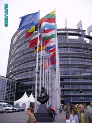 Euro  Parliament  House with flags
