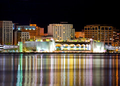 Monona Terrace Reflections (Todd Klassy) Tags: city longexposure travel light lake seascape reflection tourism water horizontal skyline wisconsin architecture night buildings dark landscape outside outdoors evening design seaside community downtown nightlights exterior terrace contemporary events shoreline cities style arches nobody nopeople center visit franklloydwright business entertainment madison convention conventioncenter copyspace shores wi atnight futuristic clearsky shimmering monona madisonwisconsin mononaterrace stockphotography blacksky lakemonona isthmus urbanscene onthelake traveldestinations colorimage danecounty buildingexterior wisconsinphotographer conventionvisitorsbureau madisonskyline wisconsinlandscape madisonarchitecture cityofmadison greatermadison wisconsinarchitecture toddklassy wisconsinlandscapephotographer madisonlandscape madisonwisconsinskyline