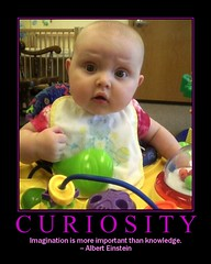 Curiosity (MacSmiley) Tags: cameraphone baby poster fdsflickrtoys knowledge imagination motivation curiosity quotation motivational grandbaby alberteinstein payitforward 1on1motivator macsmiley