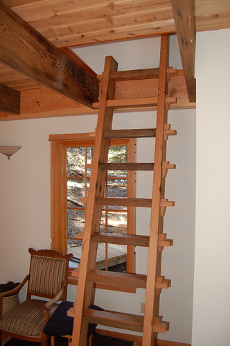 Reclaimed wood ladder in the Sleeping Cabin
