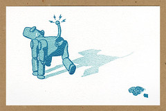 Dog Gone Robot! (tubes.) Tags: illustration print robot gocco springs poop cogs gears robotdog pottyhumor butthole