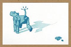 Dog Gone Robot! (tubes.) Tags: illustration print robot gocco springs poop cogs gears robotdog pottyhumor butthole