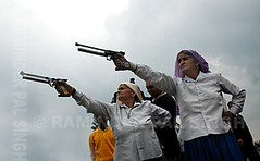 Old Ladies-Young Guns! (Raminder Pal Singh) Tags: old ladies india game sport clouds rural shoot shot age pistol aim punjab ludhiana attire thepca kilaraipur
