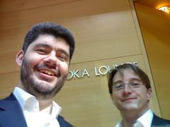 Rodrigo & Ivan (vpod.tv) in front of the Nokia lounge