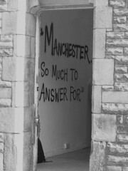 Manchester So Much To Answer For - B/W (Neil101) Tags: blackandwhite bw white black manchester for interesting grafitti morrissey neil doorway most much smiths answer thesmiths wilkinson neilwilkinson neil101