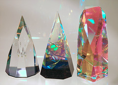 Laminated glass art sculptures.