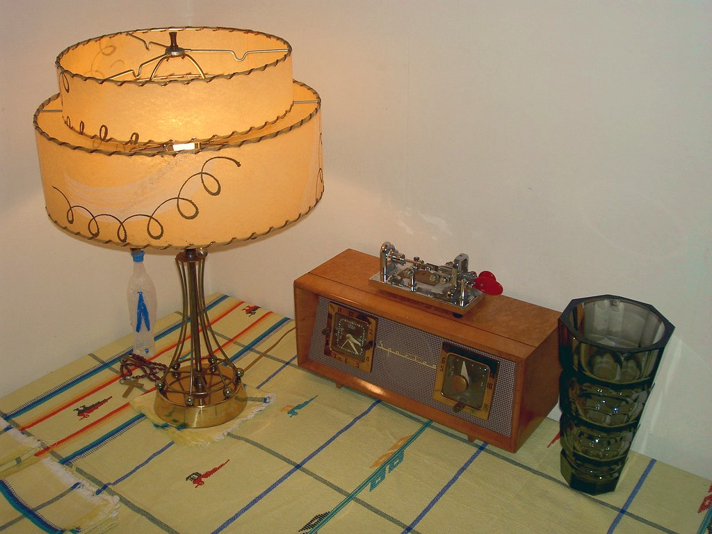 Kitchen Tablecloth  Lamp Vase & Radio