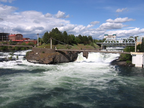 Footbridge crossing the Spokane River